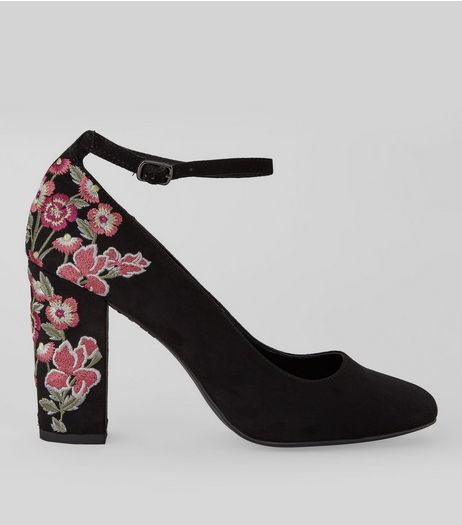 Black Suedette Embroidered Heels | New Look