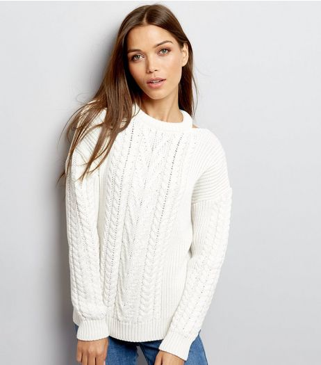 Cream Cable Knit Cut Out Neck Jumper  | New Look