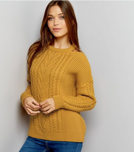 Yellow Cable Knit Cut Out Neck Jumper  | New Look