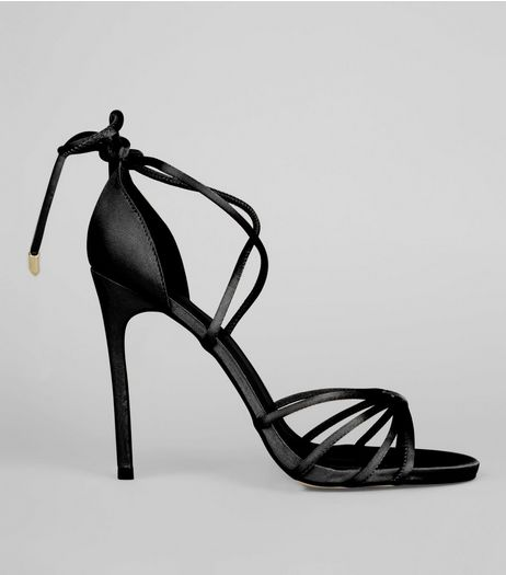 Black Satin Tie Up Heeled Sandals | New Look