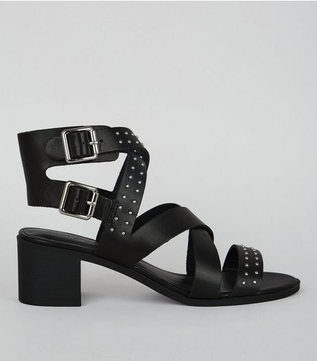 Black Studded Leather Heeled Sandals  | New Look