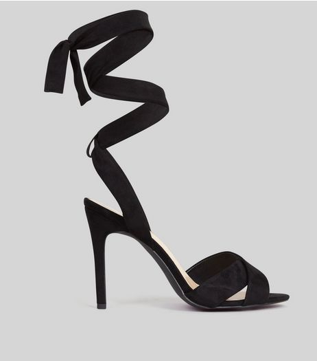 Black Suedette Tie Up Heeled Sandals | New Look