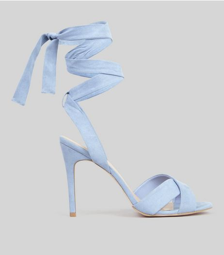Pale Blue Suedette Tie Up Heeled Sandals | New Look