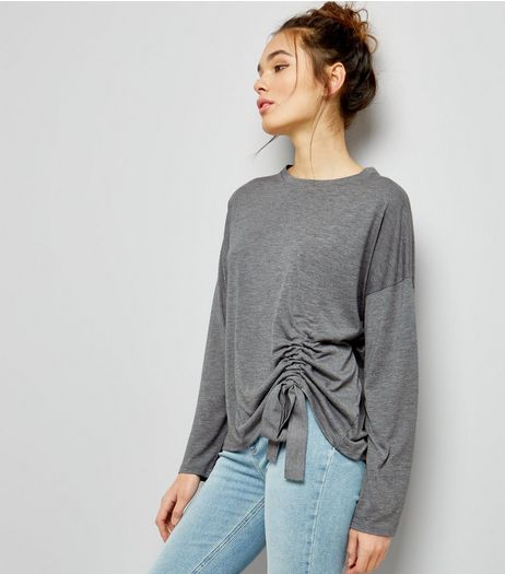 Dark Grey Ruched Front Long Sleeve T-Shirt  | New Look