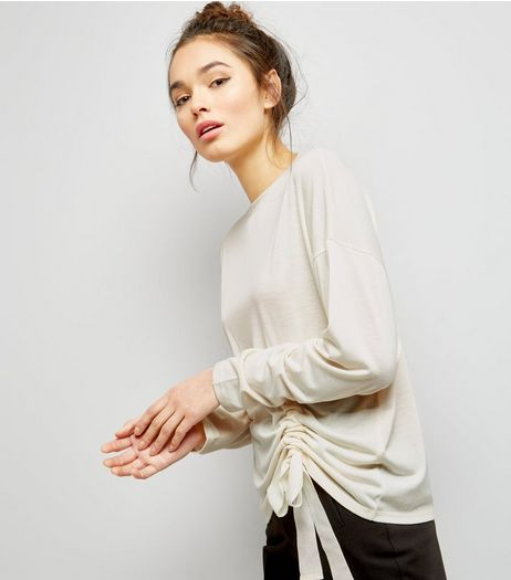 Cream Ruched Front Long Sleeve T-Shirt  | New Look