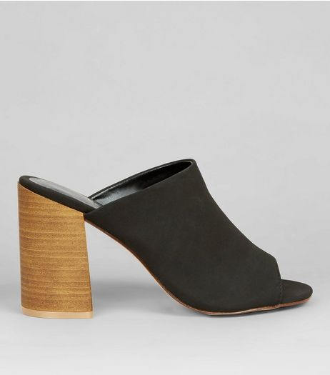 Black Contrast Stacked Heeled Mules | New Look