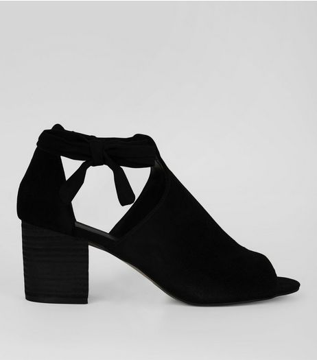 Black Suede Bow Side Heeled Sandals | New Look
