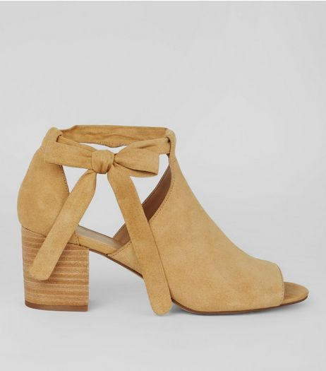 Mink Suede Bow Side Heeled Sandals | New Look