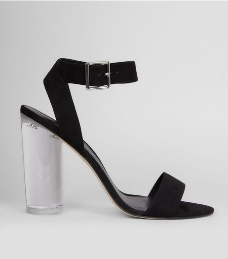 Black Wrap Strap Clear Block Heels | New Look