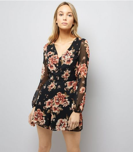 Black Floral Print Chiffon Long Sleeve Playsuit | New Look