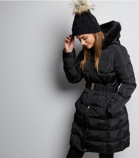 Black Longline Belted Puffer Jacket | New Look