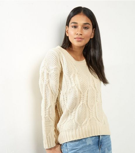 QED Cream Cable Knit Jumper | New Look