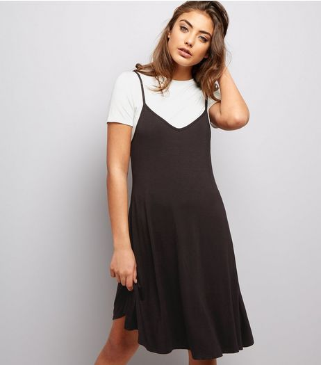 Black V Neck 2 in 1 Slip Dress | New Look