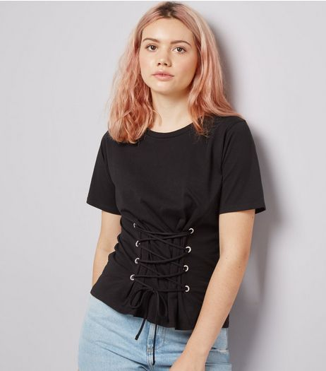 Black Lace Up Corset T-Shirt | New Look