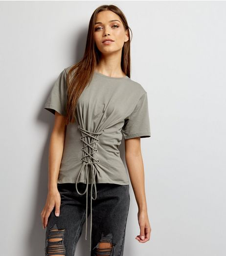 Dark Grey Lace Up Corset T-Shirt  | New Look