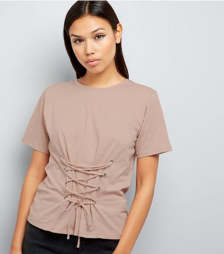Light Brown Lace Up Corset T-Shirt  | New Look