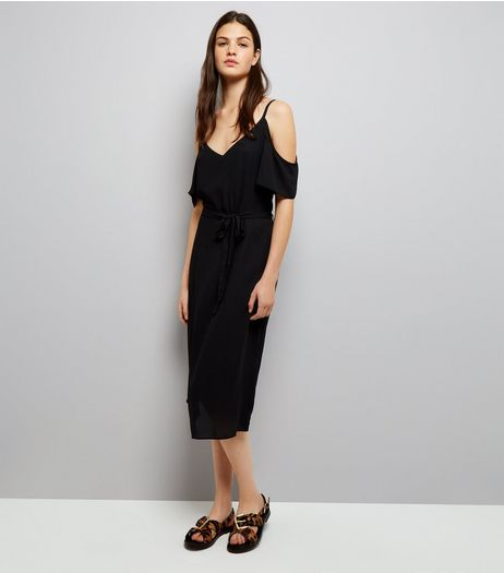 Black Cold Shoulder Midi Slip Dress  | New Look