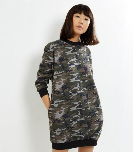 Influence Green Camo Sweater Dress | New Look