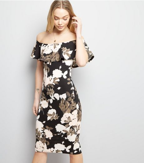 AX Paris Black Floral Print Bardot Neck Bodycon Dress | New Look