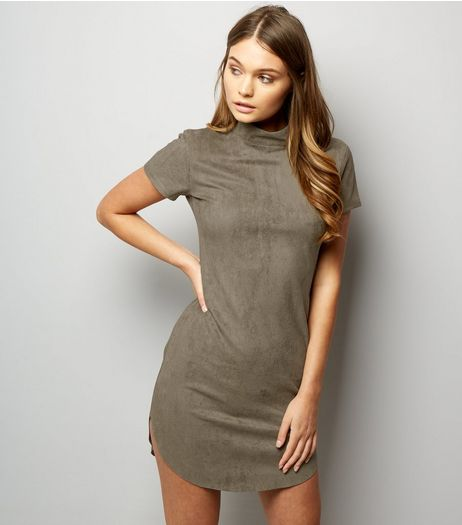 AX Paris Light Green Suedette Funnel Neck Dress | New Look