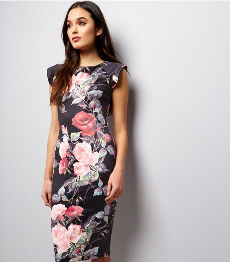 AX Paris Black Floral Print Bodycon Dress | New Look