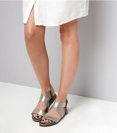 Wide Fit Leather Pewter Cross Strap Sandals | New Look