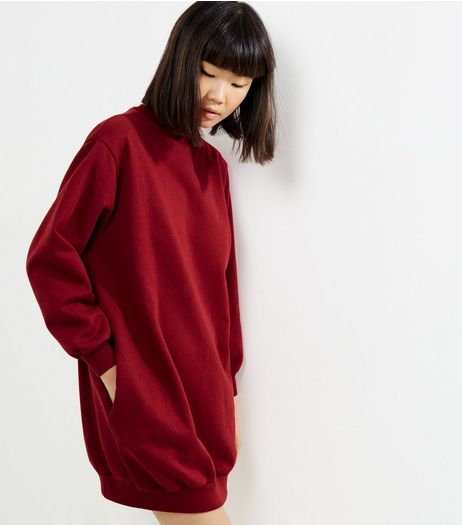 Influence Burgundy Oversized Jumper Dress | New Look