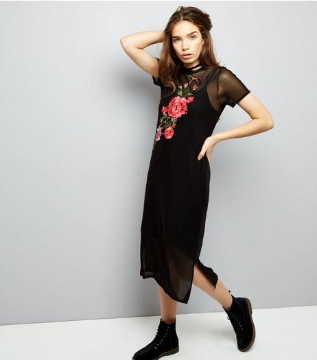 Black Mesh Floral Badge Midi T-Shirt Dress | New Look