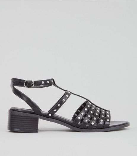 Black Studded Strap Mini Block Heeled Sandals | New Look