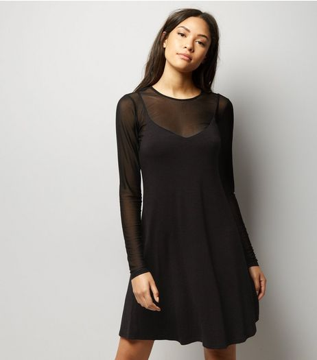 Black Mesh 2 in 1 Slip Dress | New Look
