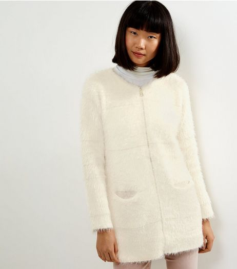 QED Cream Faux Fur Longline Cardigan | New Look