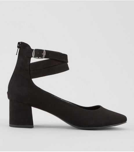 Black Suedette Cross Buckle Strap Mini Block Heels | New Look