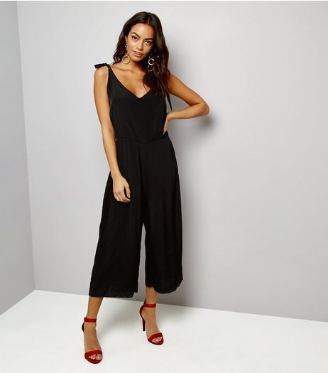 Black Tie Straps Wide Leg Jumpsuit | New Look