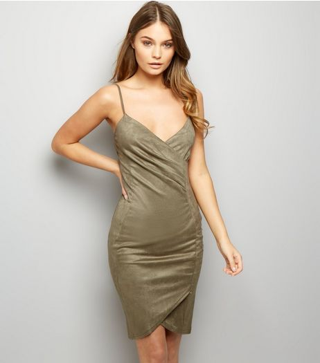 AX Paris Light Green Suedette Wrap Front Dress  | New Look