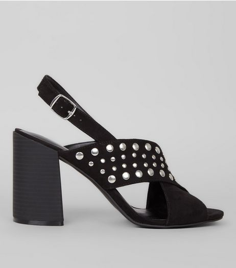 Black Suedette Stud Cross Strap Heels | New Look
