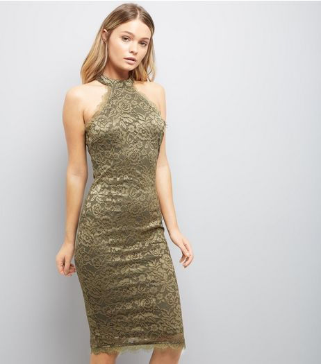 AX Paris Olive Green Lace High Neck Dress | New Look