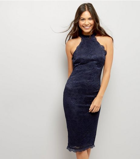 AX Paris Navy Lace High Neck Bodycon Dress  | New Look
