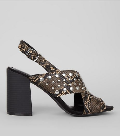 Black Snakeskin Textured Cross Stud Strap Block Heels | New Look