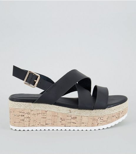 Black Cross Strap Cork Sole Flatforms | New Look