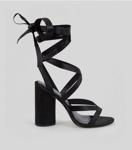 Black Satin Tie Up Block Heels | New Look