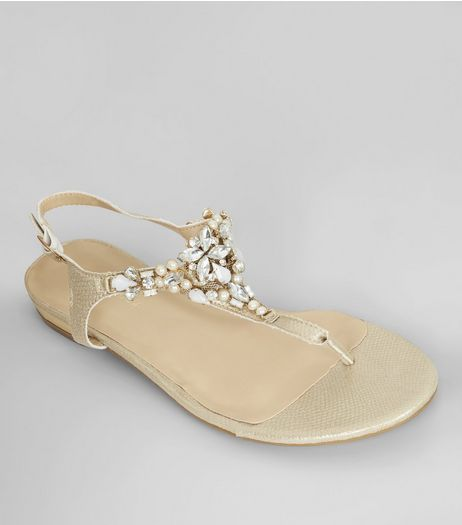 Gold Gem Stone Toe Post Sandals | New Look