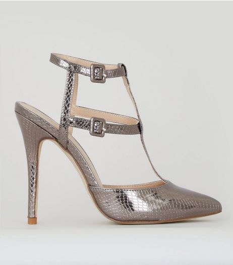 Pewter Snakeskin Texture Pointed Gladiator Heels | New Look