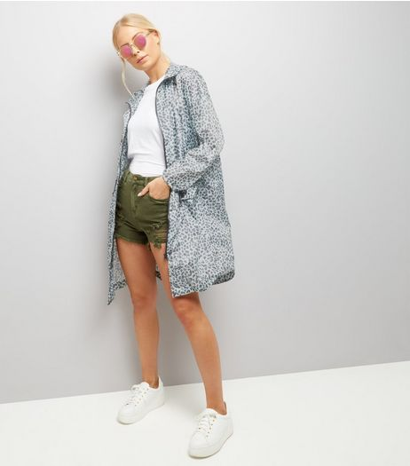 Mint Green Animal Print Parka  | New Look