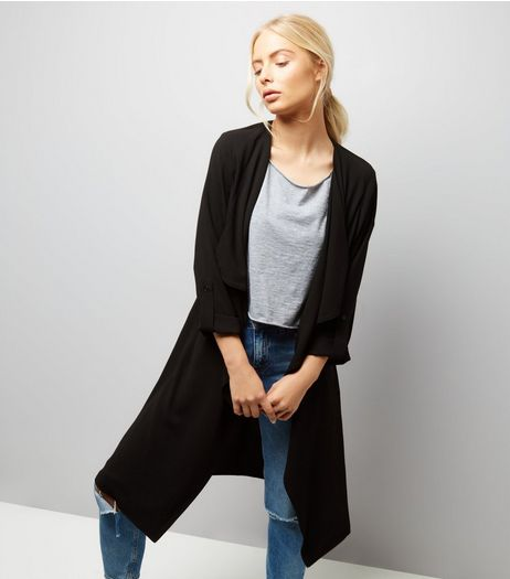 Black Ruched Back Duster Coat  | New Look