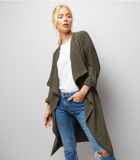 Khaki Ruched Back Duster Coat  | New Look