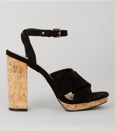 Black Suedette Cross Strap Cork Block Heels | New Look