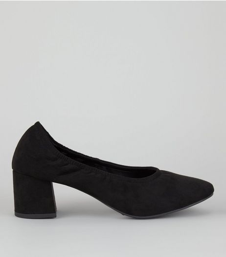 Black Suedette Elasticated Block Heels | New Look