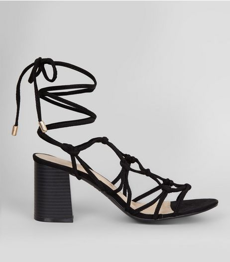 Black Suedette Multi Knot Strap Heeled Sandals | New Look