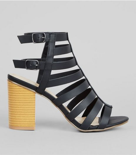 Black Strappy Gladiator Block Heels  | New Look