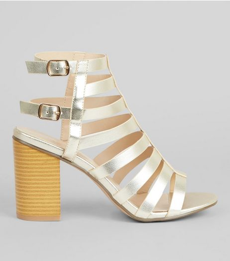 Gold Strappy Gladiator Block Heels  | New Look